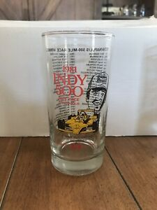 """1981 Indy 500 Race Glass Johnny Rutherford 1980 Winner Indianapolis 5.5"""" Tall"""