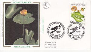 Enveloppe maximum 1er jour FDC Soie 1992 - Nature Fleurs : Nenuphar Jaune