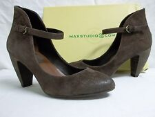 Max Studio Size 7.5 M Beset Dark Brown Suede Mary Janes Heels New Womens Shoes