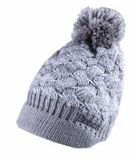 Bench Acrylic Grey White Alanna Peaked Bobble Pom Knit Beanie Winter Hat NWT