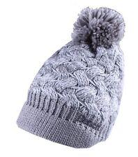 Bench Acrylic Grey White Alanna Peaked Bobble Pom Knit Beanie Winter Hat NWT