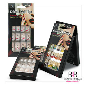 12 SETS x 12 FALSE NAILS PRE-GLUED STICK ON INDIVIDUALLY BOXED DIFFERENT DESIGNS