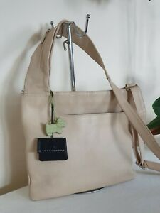 Radley Cream Leather black pocket green dog  Messenger X-Body Shoulder Bag Handb