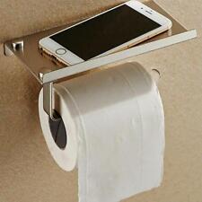 Toilet Paper Holder Mobile Phone Shelf Tissue Storage Bathroom Wall Mount Steel