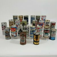 24 Lot Flat Top Pull Tab Beer Can Collection Old Vintage Steel Aluminum