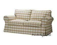 Ikea Cover for Ektorp Loveseat Bergvik Beige Tan 2seat Sofa Check Slipcover New