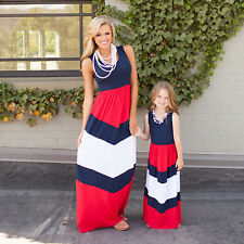 Family Mother & Daughter Match Striped Women Girls Long Beach Dresses Outfit Set