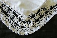 HUGE Antique French Cotton Lace Pillowcase European Sham Mono MM c1910