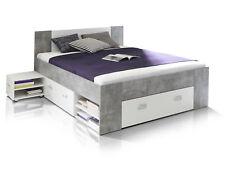 Funktionsbett 140x200 BENJAMIN Doppelbett Bett Stauraum Schubladen Beton | Weiß