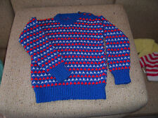 NEW HAND KNITTED JUMPER BLUE,RED & WHITE  4 -5  YEARS APPROX