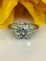 2Ct Three Stone Cushion Cut Moissanite Engagement Ring In 14K White Gold FN