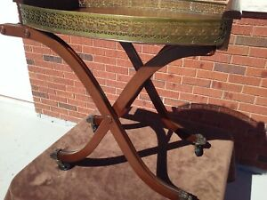 English Serving Table Brass and Wood  Antique