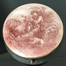 Grande Bonbonnière Porcelaine Limoges Décor Romantique Signé JG XIXè Victorian