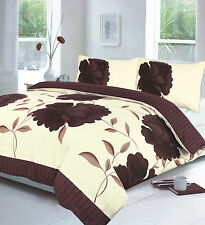 Super King Size Duvet Cover Set Floral Flowers Lilac Striped Cream Leaves Green
