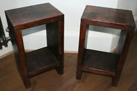 Rustic Handmade Solid Wood Pair of Bedside Side Tables Teak Oak Lamp End Table