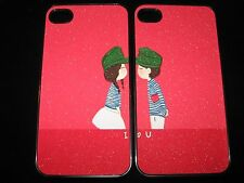 Loving Couple Hard Cover Case for iPhone 4  4s Boy & girl   I love You  Set of 2