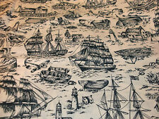 "30"" Nautical Quilt Fabric Ancient Mariners Scenic Monotones Ship Lighthouses"