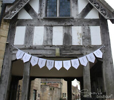 JUST MARRIED BUNTING BANNER / Garland / Sign - White & Silver Wedding Decoration