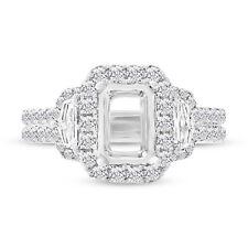 8x6mm Semi Mount Diamond Ring 18K White Gold 1.55CT Three Stone Setting F VS2