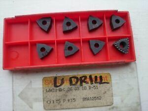 8 Sandvik carbide inserts WCMX 06 T3 08 R-51 015 ( WCMX 06T308 U-drill drilling