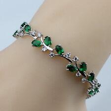 Sterling Silver Green Emerald & White Topaz 11ct Adjustable Tennis Bracelet Leaf