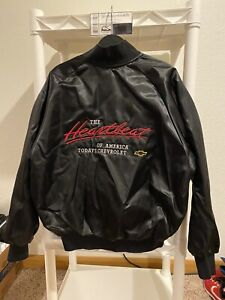 Vintage Chevy The Heartbeat Of America Satin Jacket Sz L Made In The USA 90s New