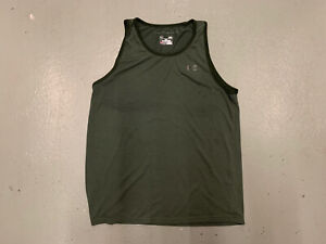 Under Armour Tank Top Men Large Threadborne Green Logo Loose Heat Gear Gym