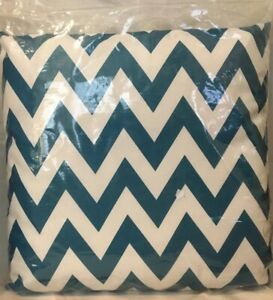 """(2) LE POUF Marisol Teal Chevron Square Pillows Outdoor Water Resistant 18"""" NIP"""