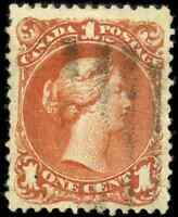 Canada #22a used F-VF 1868 Queen Victoria 1c brown red Large Queen CV$500.00