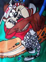 Looney Tunes Mania Tie Taz & Daffy Golfing Silk Novelty Necktie 1996