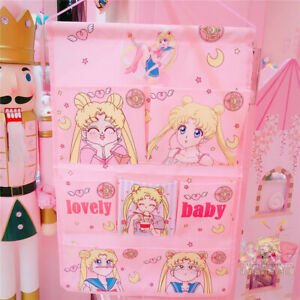 Pink Sailor Moon Wall Door Closet Home Hanging Storage Bag Organizer Pouch Home