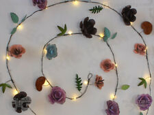 Hand-Painted Metal Rose Stringlights, Indoor / Outdoor Battery-Powered, 20 LEDs
