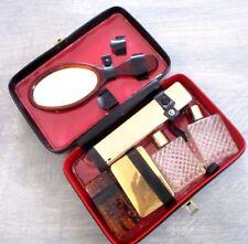 Nécessaire de toilette ancien accessoire vintage miroir flacons brosse  étuis