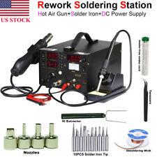 3 in1 853D Soldering Iron Station Hot Air Gun Rework Solder SMD DC Power Supply