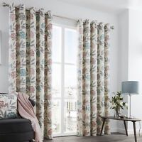 Karsten Leaf Floral Lined Ready Made Eyelet Ring Top Curtains Pair 100% Cotton