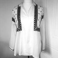 New Look White & Black Embroidered Cotton Long Sleeved Blouse Shirt Top Size 14
