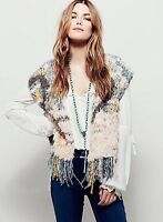 NWT Free People Rug Rag Fringe Vest Knit Top Sweater Shaggy Boho XS S Neutral