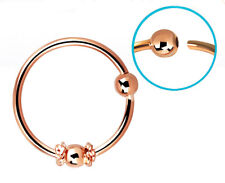 1 Rose Gold Plated  Nose Ear Hoop Ring Fixed Ball + Side Ball 22g 8mm CBR #NR2
