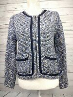 Joe Browns Soft Knitted Blue Marl Navy Piped Jacket Cardigan Size UK 10