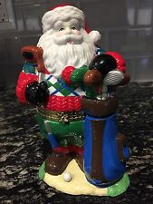 Santa Trinket Box GAC 1999 Golfing Large 7 1/4 inch Size Christmas Collectible