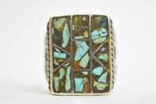 Turquoise ring southwest sterling silver men Size 11.75