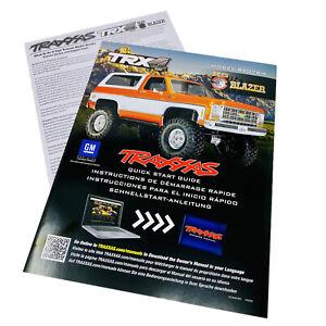 Traxxas TRX4 K5 Chevy Blazer Model 82076-4 Quick Start Guide Manual Pack New
