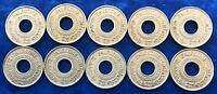 Lot of 10 Israel Palestine British Mandate 5 Mils 1946 Coins XF-AU