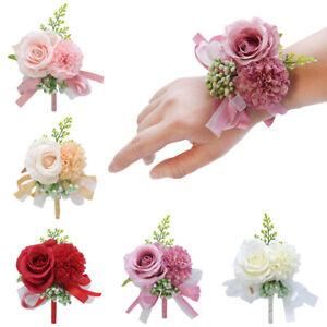 Women Bride Bridesmaid Wrist Flower Groom Rose Corsage Boutonniere Party Wedding