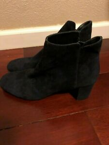 Donald Pliner Navy Blue Suede Leather Ankle Zip Boots Booties Shoes Size 10M