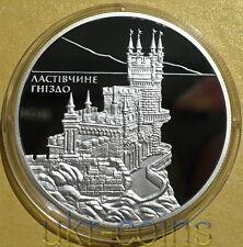 2008 Ukraine Crimea Swallow's Nest Silver Proof Coin Russia Architecture Castle