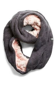 THE NORTH FACE Furry Faux Fur & Knit Infinity Scarf Girls Youth Pink & Grey NEW