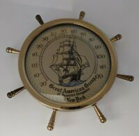 Vintage Ship's Wheel Thermometer Advertising Great American Group New York