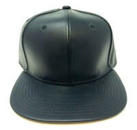 SOLID BLACK PU FAUX LEATHER SNAPBACK HAT CAP BLANK PLEATHER ADJUSTABILE RETRO