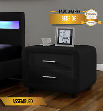 Harmin BLACK Faux Leather Designer Bedside Table Cabinet Night Stand